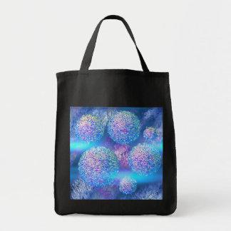 Galaxia azul ciánica del fractal abstracto externo bolsa tela para la compra