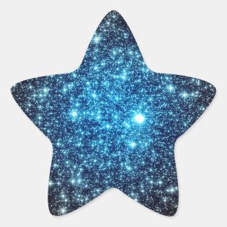 Galaxia azul y negra pegatina en forma de estrella