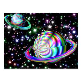 galaxia colorida postal