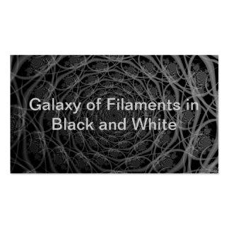 Galaxia de filamentos en tarjeta blanco y negro tarjetas de visita