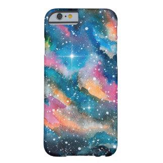 Galaxia de la acuarela del arte del espacio funda de iPhone 6 barely there