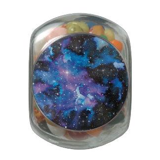 Galaxia de la acuarela del arte del espacio jarras de cristal