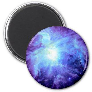 Galaxia de la lavanda del bígaro de la turquesa de imán redondo 5 cm