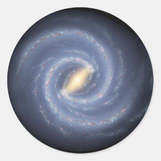 Galaxia de la vía láctea pegatina redonda