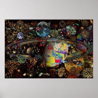 Galaxia de los planetas 2859b del collage de los f póster