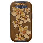 Galaxia de madera de Samsung del Plumeria hawaiano Samsung Galaxy S3 Funda