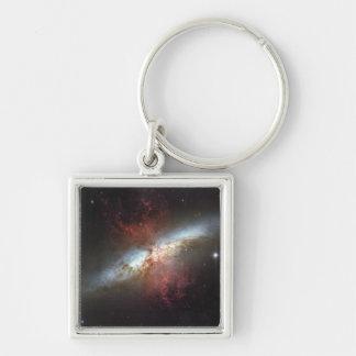 Galaxia de Starburst, 82 más sucios Llavero Cuadrado Plateado