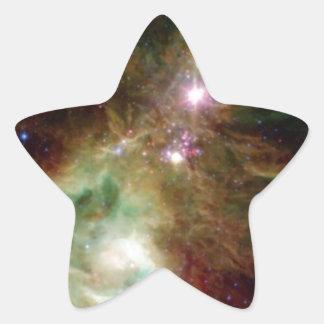 Galaxia del árbol de navidad pegatina en forma de estrella