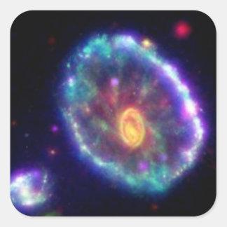 Galaxia del Cartwheel Pegatina Cuadrada