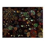 Galaxia del collage de los fuegos artificiales 12 postal