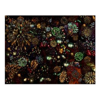 Galaxia del collage de los fuegos artificiales 12 tarjeta postal