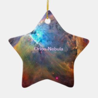Galaxia del espacio de la nebulosa de Orión Adorno Navideño De Cerámica En Forma De Estrella