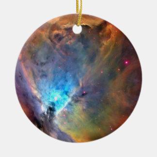 Galaxia del espacio de la nebulosa de Orión Adorno Navideño Redondo De Cerámica