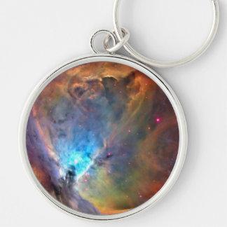 Galaxia del espacio de la nebulosa de Orión Llavero Redondo Plateado