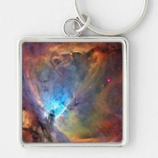 Galaxia del espacio de la nebulosa de Orión Llavero Cuadrado Plateado