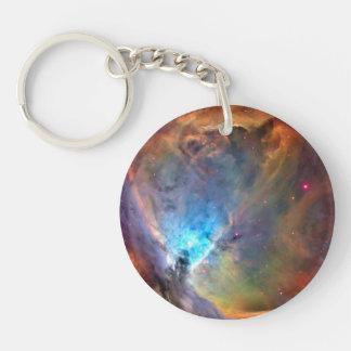 Galaxia del espacio de la nebulosa de Orión Llavero Redondo Acrílico A Doble Cara