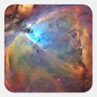 Galaxia del espacio de la nebulosa de Orión Pegatina Cuadrada