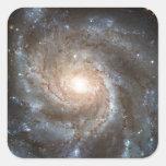 Galaxia del molinillo de viento calcomanías cuadradases