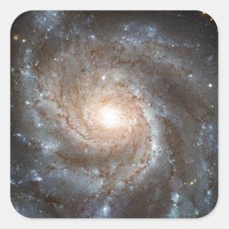 Galaxia del molinillo de viento pegatina cuadrada