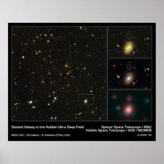 Galaxia distante en el campo ultra profundo de Hub Póster