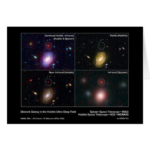 Galaxia distante en el campo ultra profundo de Hub Tarjetón