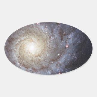 Galaxia espiral 74 NGC más sucios 628 Pegatina Ovalada