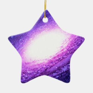 Galaxia espiral adorno navideño de cerámica en forma de estrella