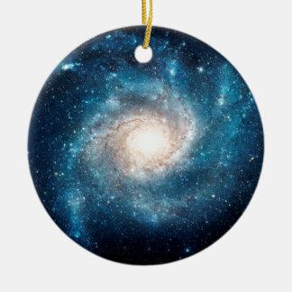Galaxia espiral adorno navideño redondo de cerámica