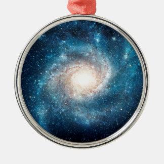 Galaxia espiral adorno navideño redondo de metal