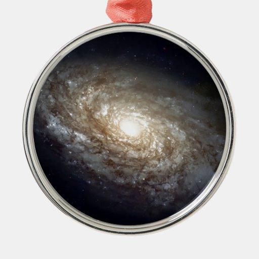 Galaxia espiral adorno redondo plateado