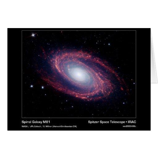 Galaxia espiral M81 - telescopio espacial de Spitz Tarjeta De Felicitación