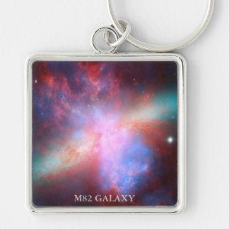 Galaxia M82 Llavero Cuadrado Plateado
