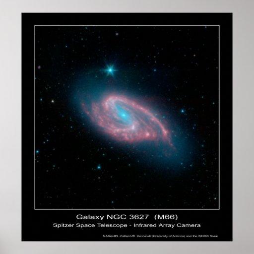 Galaxia NGC 3627 (M66) - telescopio espacial de Sp Póster