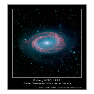 Galaxia NGC 4725 - telescopio espacial de Spitzer Póster