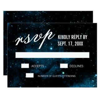 """Galaxia oscura azul que casa las tarjetas de RSVP Invitación 3.5"""" X 5"""""""