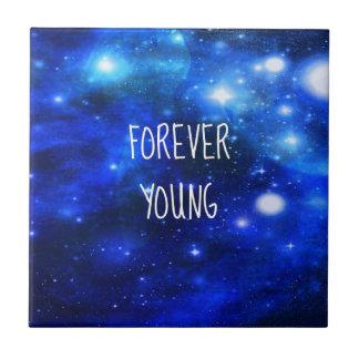 Galaxia para siempre joven del espacio azulejo cuadrado pequeño