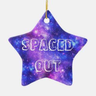 Galaxia púrpura adorno navideño de cerámica en forma de estrella