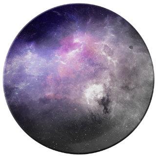 Galaxia púrpura plato de cerámica