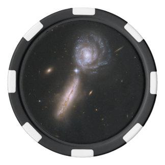 Galaxia que obra recíprocamente UGC 9618 de Hubble Juego De Fichas De Póquer
