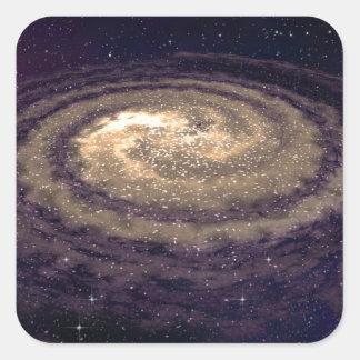 Galaxia que remolina de oro pegatina cuadrada
