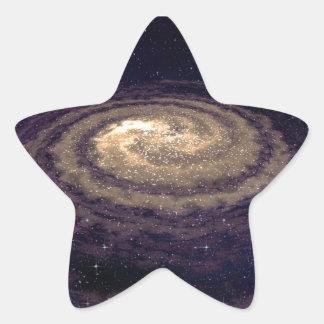 Galaxia que remolina de oro pegatina en forma de estrella