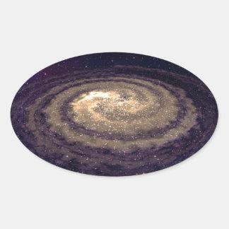 Galaxia que remolina de oro pegatina ovalada