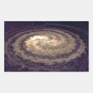Galaxia que remolina de oro pegatina rectangular