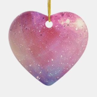 Galaxia roja adorno navideño de cerámica en forma de corazón
