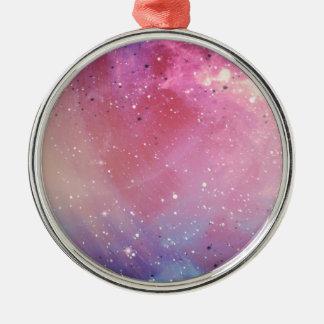 Galaxia roja adorno navideño redondo de metal