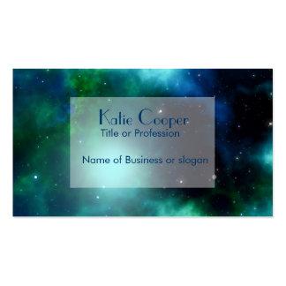 Galaxia verde clara tarjeta de visita