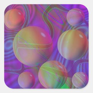 Galaxia violeta del añil del fractal abstracto pegatina cuadrada