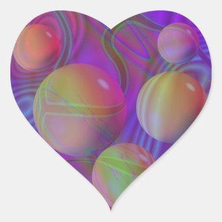 Galaxia violeta del añil del fractal abstracto pegatina en forma de corazón