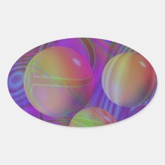 Galaxia violeta del añil del fractal abstracto pegatina ovalada