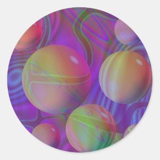 Galaxia violeta del añil del fractal abstracto pegatina redonda